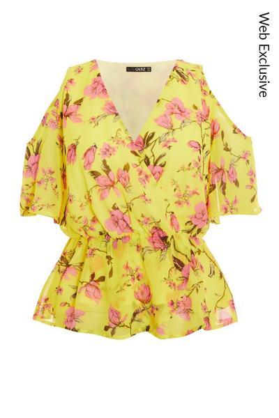 Petite Yellow Floral Peplum Top